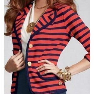 CAbi Red Navy Blue Stripe Nautical Blazer Jacket